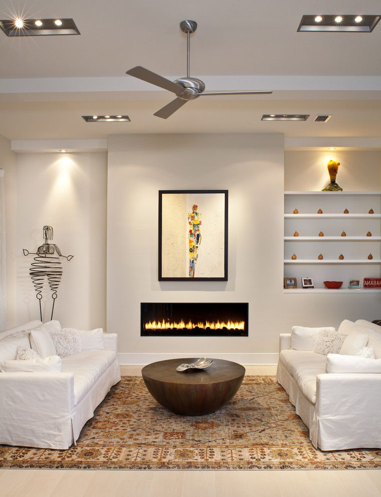Electric Fireplaces for Sale with Contemporary Living Room  and Area Rug Art Niche Ceiling Beams Ceiling Fan Ceiling Lights Coffee Table Floating Shelves Framed Art Modern Fireplace Neutral Colors White Sofas