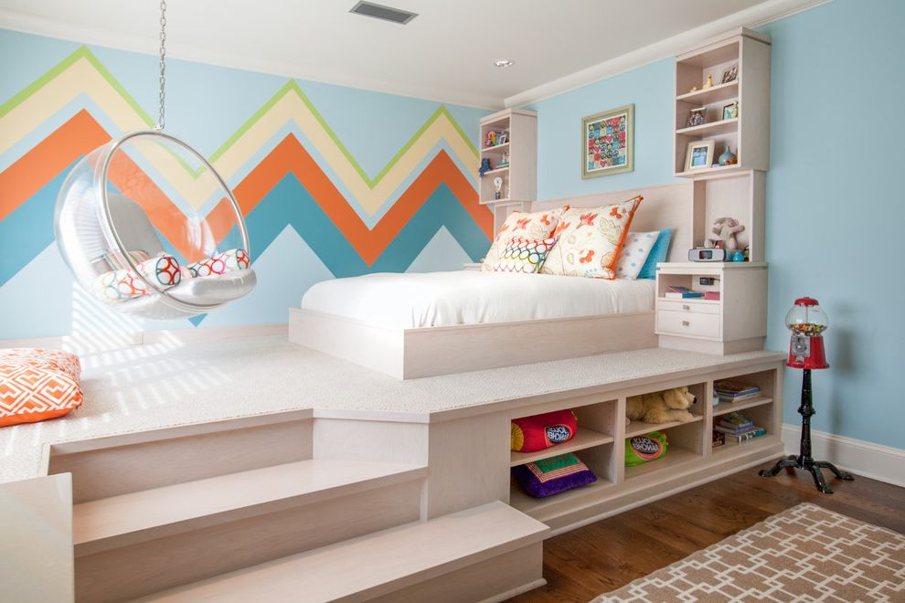 Electrician Jackson Ms   Contemporary Kids  and Bright Colors Bubble Chair Chevron Pattern on Wall Orange Accent Color Platform Bed Steps Toy Storage