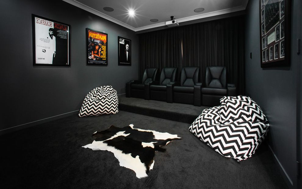 Elk River Theater   Contemporary Home Theater  and Beanbag Cowhide Rug Curtains Home Theater Leather Chairs Movie Posters Movie Room Projector