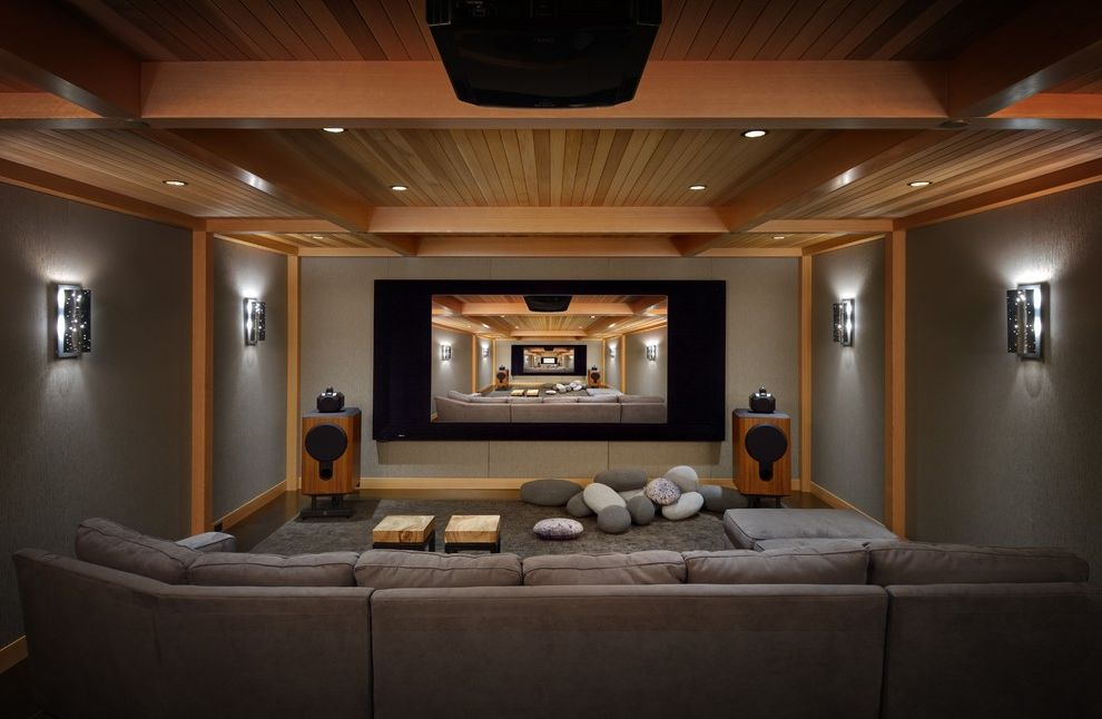 Elk River Theater   Rustic Home Theater Also Big Screen Fun Pillows Gray Carpet Large Screen Media Room Northwest Recessed Lighting Rock Shaped Pillows Seattle Theater Room Tv Room Wood Ceiling Wood Trim Wooden Speakers Woodsy