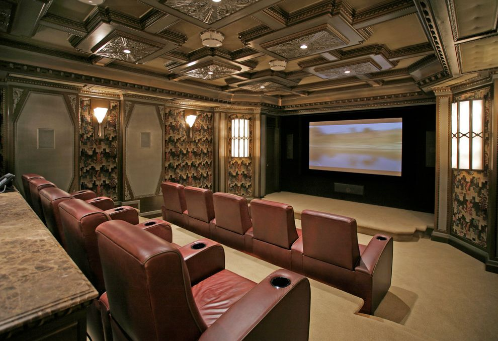 Elk River Theater   Traditional Home Theater  and Accent Ceiling Leather Recliners Sconce Screening Room Soundproofing Stadium Seating Wall Covering Wall Lighting