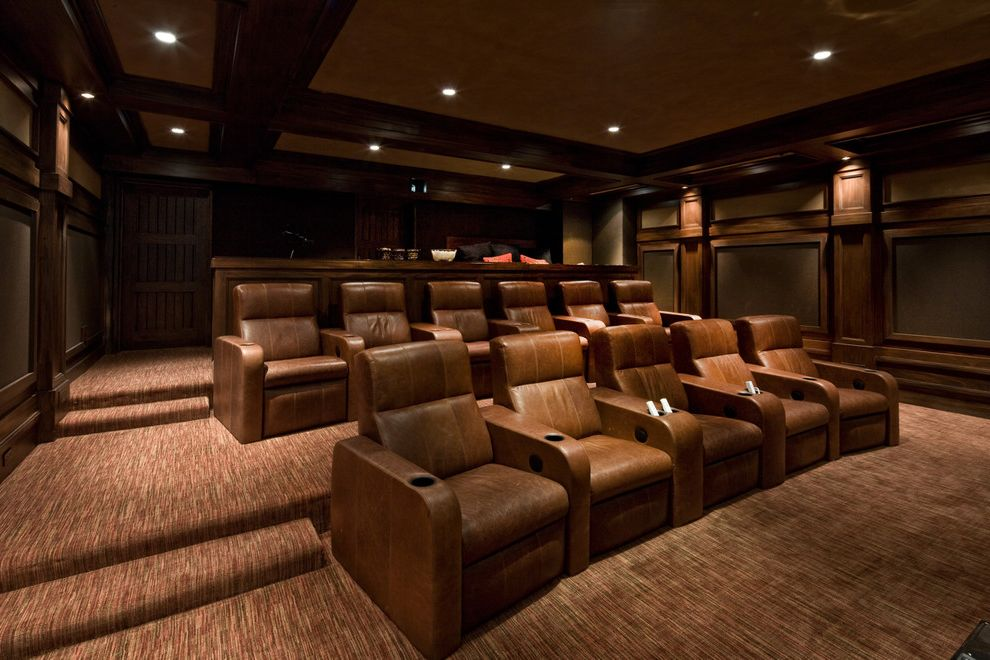 Elk River Theater   Traditional Home Theater  and Carpet Coffered Ceiling Leather Furniture Media Room Furniture Wood Wall