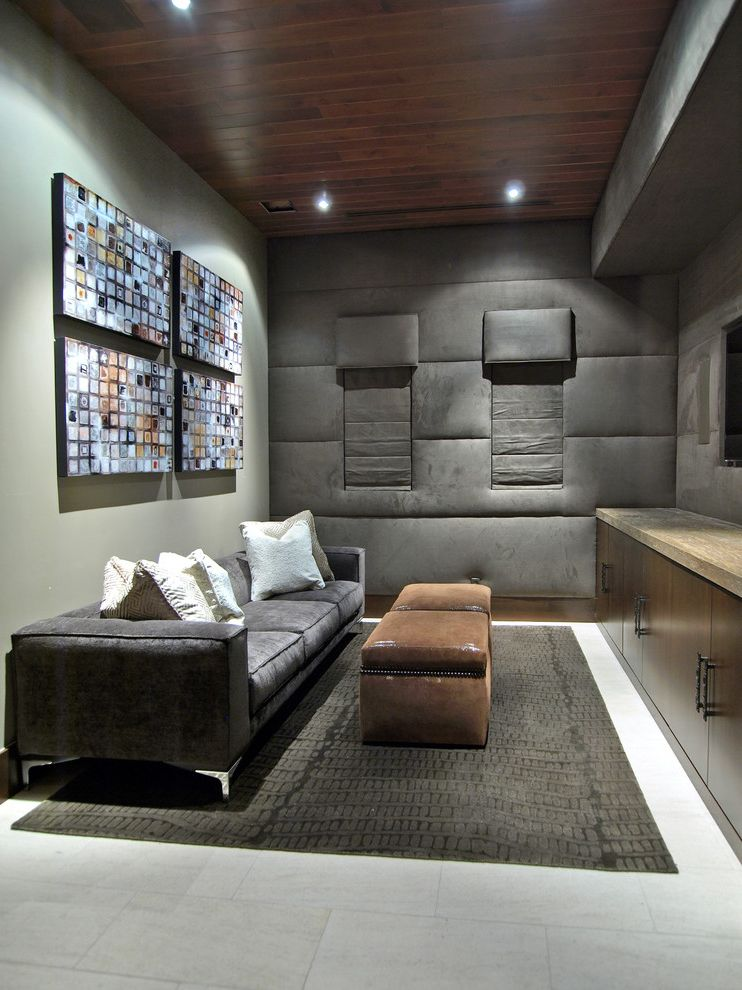Elk River Theater with Contemporary Home Theater Also Area Rug Artwork Built in Media Cabinet Gray Gray Sofa Leather Ottomans Padded Walls Pillows Recessed Lights Tile Floor Wood Ceiling