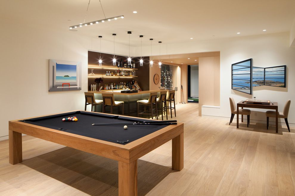 Elliptical Pool Table   Contemporary Family Room Also Billiard Table Contemporary Art Home Bar Pool Table