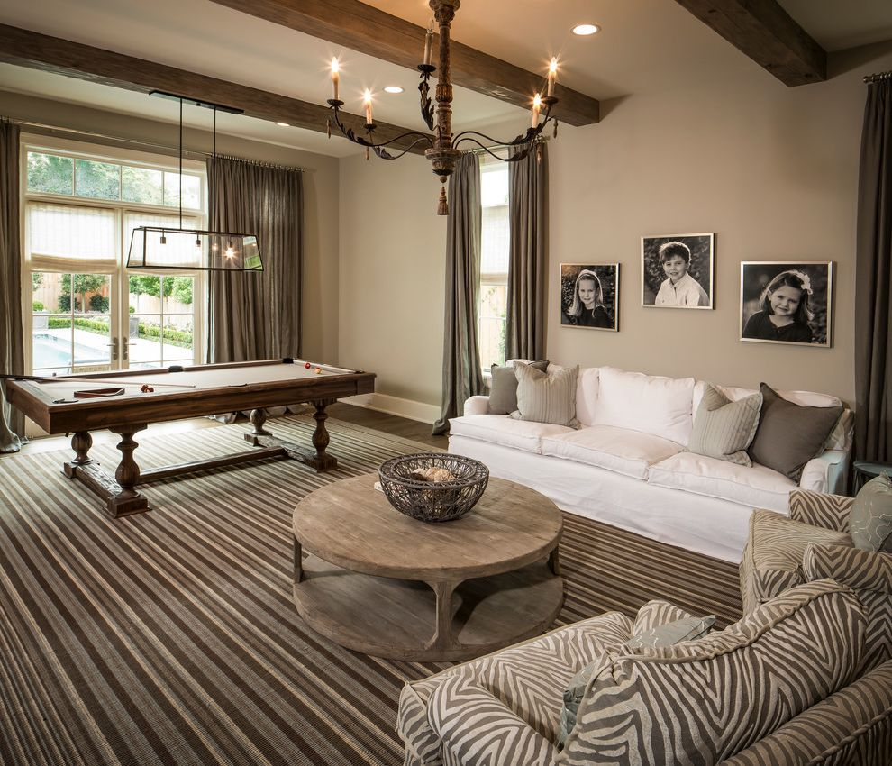 Elliptical Pool Table   Traditional Family Room  and Area Rug Arm Chairs Beige Chandelier French Doors Pillows Pool Table Striped Taupe Transom Window White Sofa Wood Beams