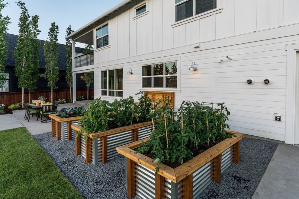 Ellis Home And Garden With Farmhouse Landscape And Contemporary Farmhouse  Edible Garden Metal Planters Planter Boxes Raised Beds Vegetable Garden  White ...