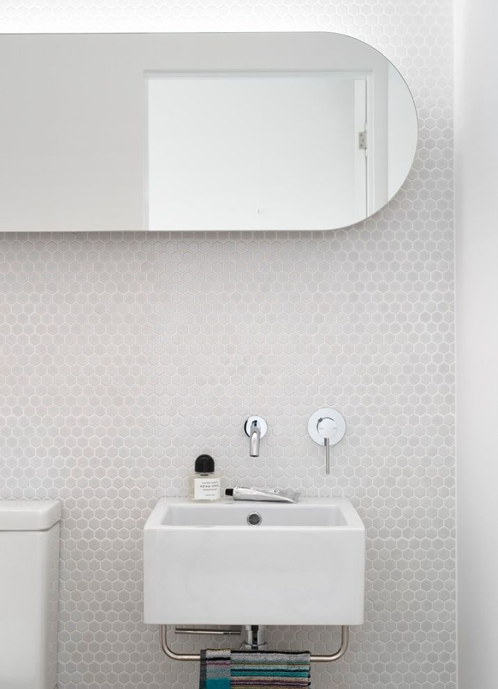Emil Ceramica Tile   Contemporary Bathroom  and Bathroom Bathroom Design Cove Lighting Ensuite Feature Wall Hexagonal Wall Tile Interior Design Mosaic Oval Mirror Powder Room Small Bathroom Design Tile Design