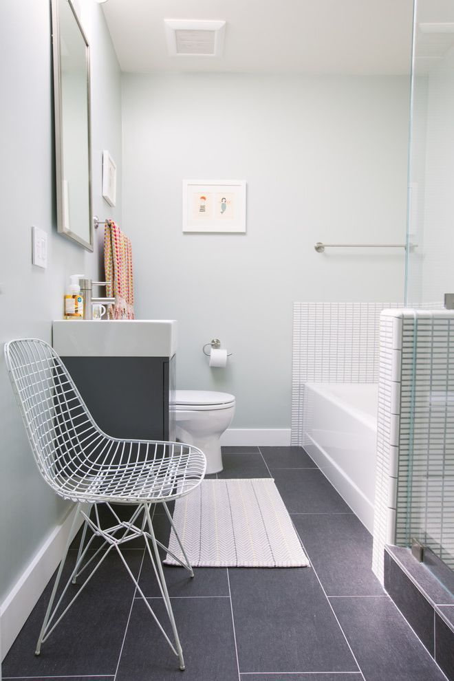 Emil Ceramica Tile   Contemporary Bathroom  and Charcoal Floor Tile Framed Artwork Framed Rectangular Mirror Gray Floor Tile My Houzz Towel Bar Herringbone Rug White Wire Chair