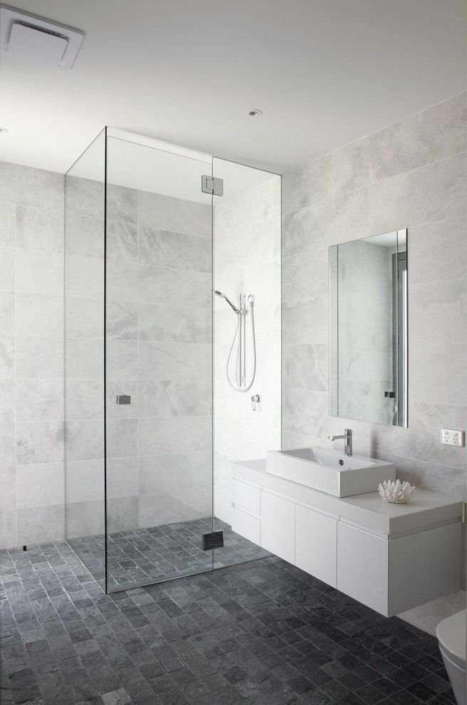Emil Ceramica Tile with Contemporary Bathroom Also Glass Shower Door Glass Shower Frame Gray Bathroom Gray Stone Floor Gray Tile Wall Gray Wall Vessel Sink Walk in Shower White Floating Vanity