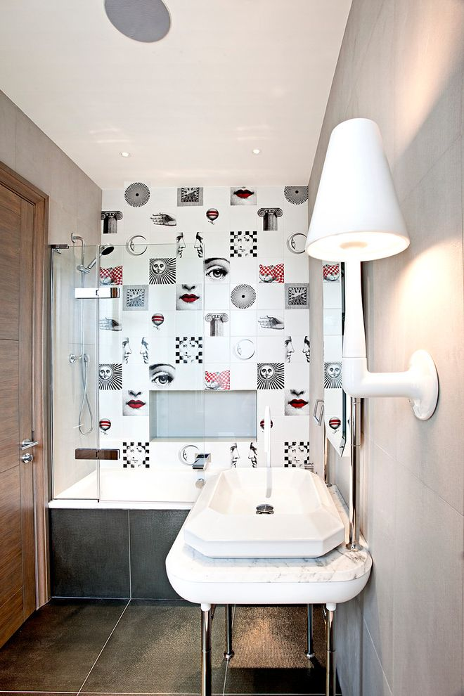 Emil Ceramica Tile with Contemporary Bathroom  and Bathroom Alcove Bathroom Doors Bathroom Tiles Contemporary Fornasetti Funky Gray Floor Tile Grayscale Modern Art Tiles Quirky Quirky Bathroom Residential Shower Alcove White Wall Sconce