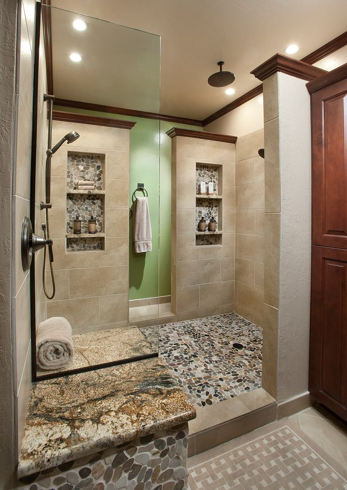 Emser Tile Scottsdale   Traditional Bathroom  and 12 X 24 Field Tile Ceiling Mount Showerhead Double Shower Rain Head Shower Niche Vessel Sinks