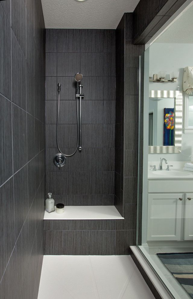 Emser Tile Scottsdale with Contemporary Bathroom Also Black Tile Columbus Home Builder Shower Bench Walk in Shower