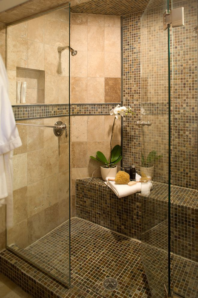 Emser Tile Scottsdale with Contemporary Bathroom  and Floor Tile Glass Shower Door Mosaic Tile Neutral Colors Niche Orchid Shower Bench Shower Shelf Shower Tile Tile Stripe
