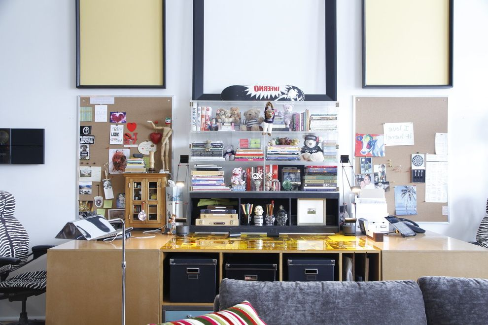 Enclosed Desk with Industrial Home Office Also Acrylic Boxes Collections Cork Boards Empty Frames Industrial Style Loft Office Chairs Reading Lamp Storage Boxes Task Light Toys Two Desks Zebra Print