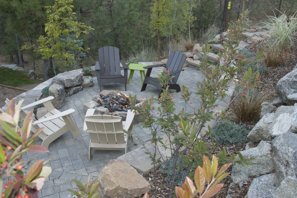 Ennis Furniture Spokane   Traditional Landscape  and Adirondack Chairs Boulders Curved Patio Fire Pit Hillside Painted Wood Furniture Pavers Planting Beds Retaining Wall Stones