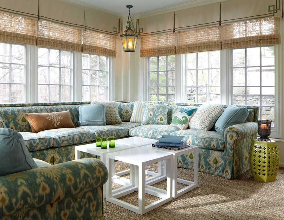 Ennis Furniture Spokane with Traditional Sunroom Also Green Ceramic Stool Ikat Fabric Natural Area Rug Pendant Light Sectional Sofa White Coffee Table