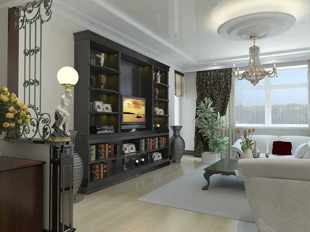 Entertainment Centers for Sale with Contemporary Living Room  and Black Bookcase Built in Shelving Chandelier Indoor Plants Iron Work Light Wood Flooring Media Storage Moulding Open Shelves Tv Wall Unit White Rug White Sofa Window Treatment