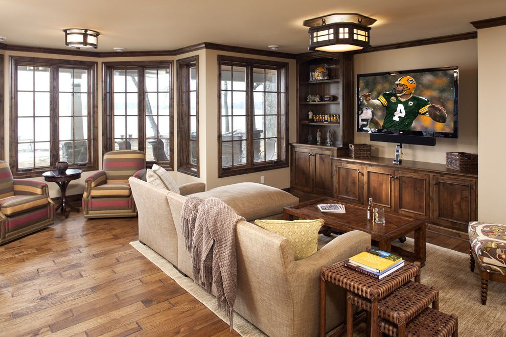 Entertainment Centers for Sale with Traditional Living Room Also Arm Chairs Bay Window Beige Walls Built in Cabinets Ceiling Lights Coffee Table Dark Stained Wood Nesting Tables Red Seating Area Tv Wood Floor Wood Trim Yellow
