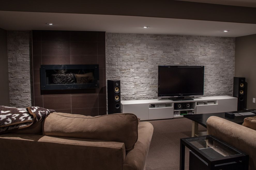 Entertainment Centers Ikea with Modern Basement Also Feature Wall Fireplace