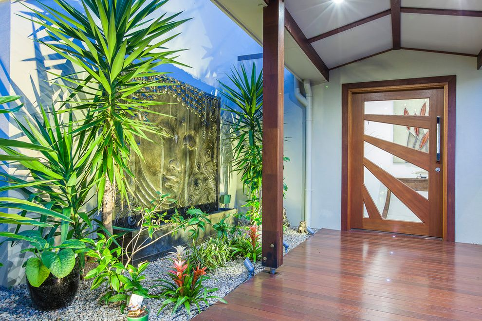 Entrance Alert Door Chime   Asian Entry Also Balinese Buderim Builder Covered Entry Mark Deighton Renovation Sunshine Coast Water Fountain