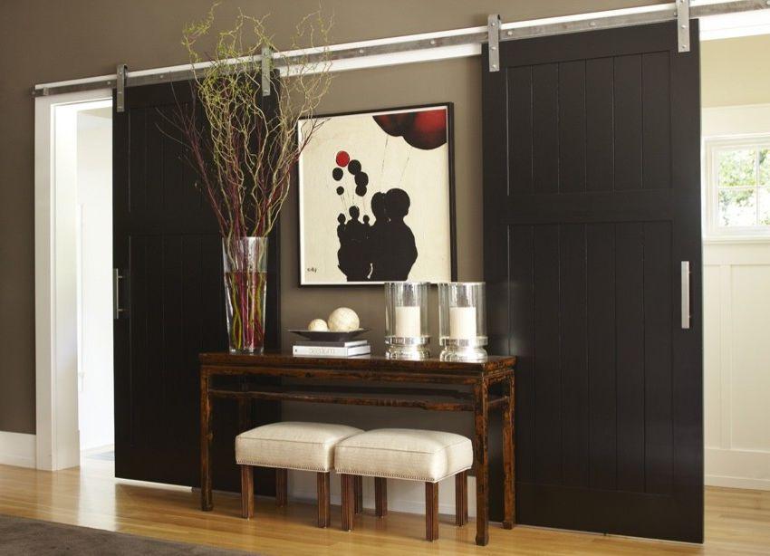 Entrance Alert Door Chime   Transitional Spaces Also Barn Door Barn Doors Black Door Black Doors Double Barn Doors Rolling Door Wall Mounted Door