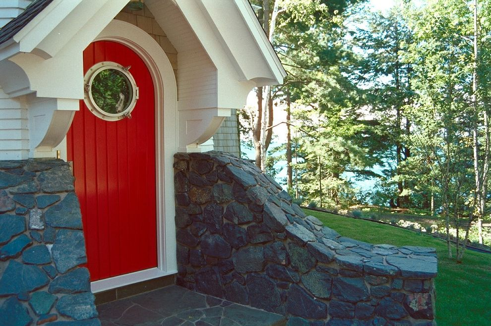 Entrance Alert Door Chime with Eclectic Entry  and Carriage House Entry Field Stone Nautical