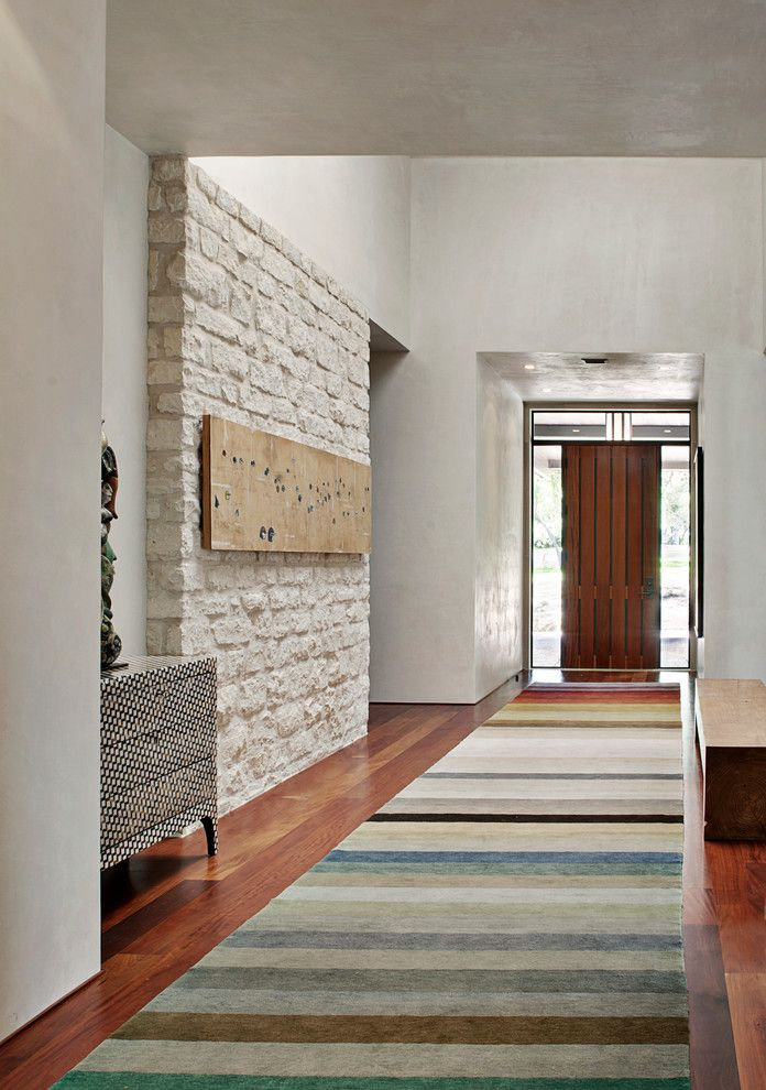 Entrance Alert Door Chime with Modern Entry  and Entry Front Door Hall Modern Front Door Rug Stone Stone Wall White Stone Wall Wood Door Wood Floor