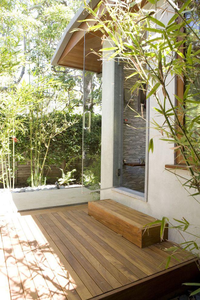 Epay Wood with Contemporary Deck Also Bamboo Bathroom Door Exterior Door Glass Shower Door Indoor Outdoor Living Outside Bathroom Entrance Pebbles Shower Tile Sunlight Teak Tile Wall Wood Deck Wood Slat Fence