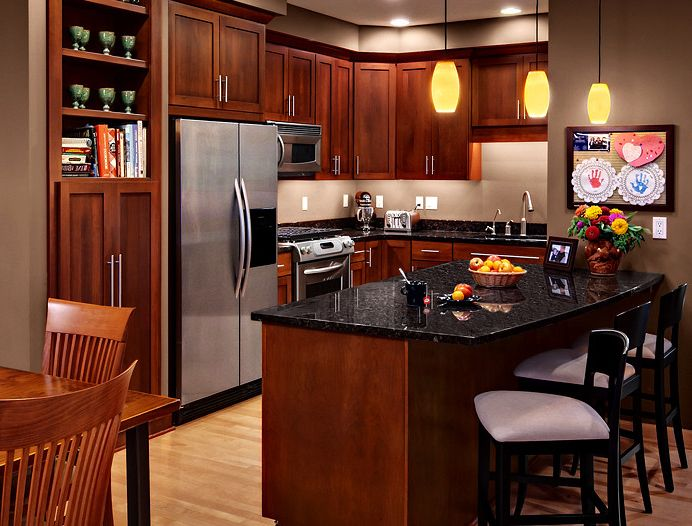 Epay Wood with Contemporary Kitchen  and Breakfast Bar Cherry Cabinets Cherry Kitchen Cherry Kitchen Cabinets Kitchen Island Open Shelving Shaker Kitchen Cabinets Stainless Steel Hardware Stainless Steel Pulls Void Door