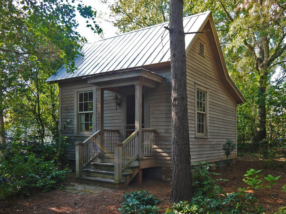 Equinox Pine Street   Rustic Exterior  and Cabin Clapboard Cottage Cozy Lattice Metal Roof Natural Finishes Pine Portico Salt Box Roof Screen Doors Small House Southern Style Standing Seam Metal Roof Traditional Weathered Wood