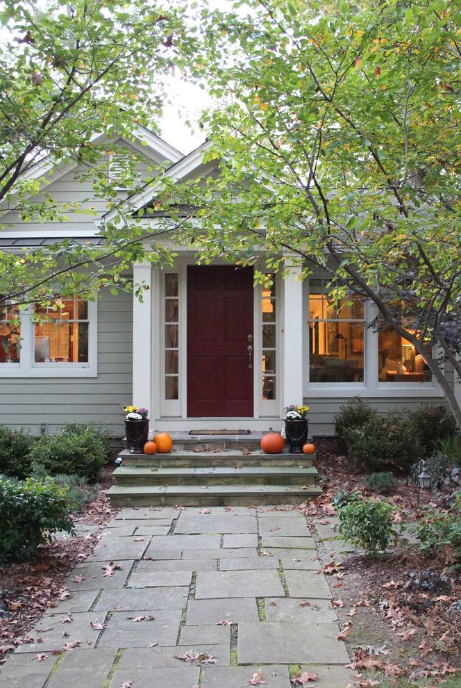 Equinox Pine Street   Traditional Entry  and Autumn Benjamin Moore Columns Entry Path Fall Fall Decorating Flagstone Nantucket Gray Nantucket Grey Pumpkins Red Door Red Front Doors Small Front Porch Stone Steps Walkway