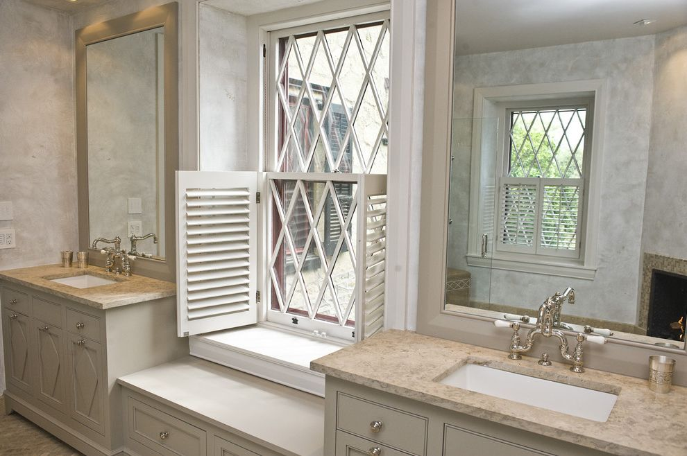 Equinox Pine Street with Traditional Bathroom  and Bench Seat Built in Custom Woodwork Glass Shower Enclosure Gray Limestone Countertop Marble Mirrors Rain Shower Recessed Lights Shower Bench Subway Tile Tile Floor Transom Window