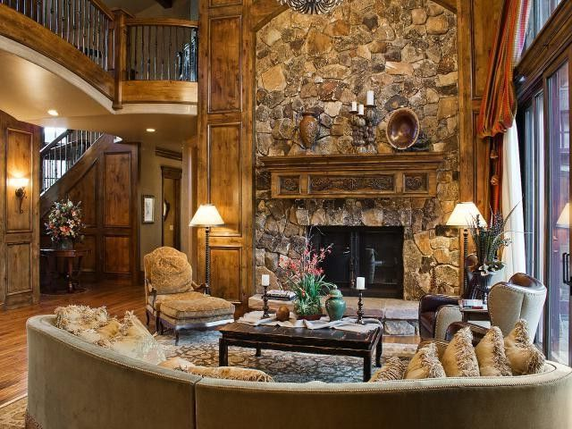 Equity Real Estate Utah   Contemporary Living Room Also Banister Hardwood Floor Living Room Luxury Home Park City Resort Home Rock Rock Fireplace Rock Work Ski Utah
