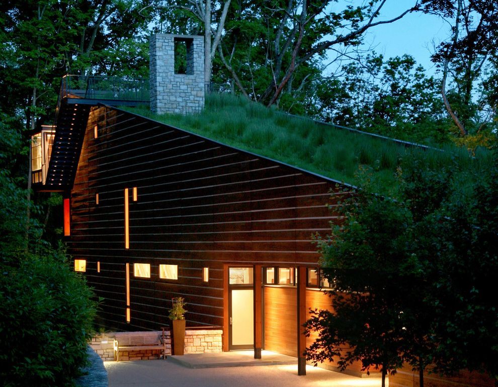 Estes Roofing with Contemporary Exterior and Entrance Entry Frosted Glass Green Roof Living Roof Night Outdoor Lighting Patio Sloped Roof Stone Chimney Treehouse Wood Siding