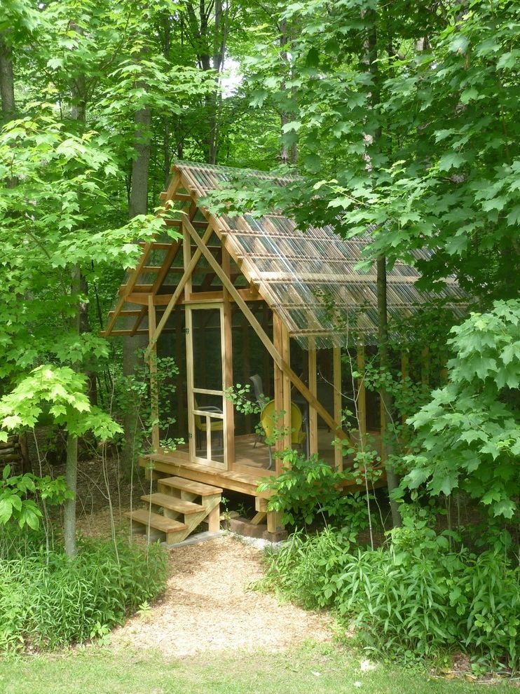 Estes Roofing with Rustic Shed and Corrugated Roof Fern House Forest Garden Shed Play House Tree House Workshop
