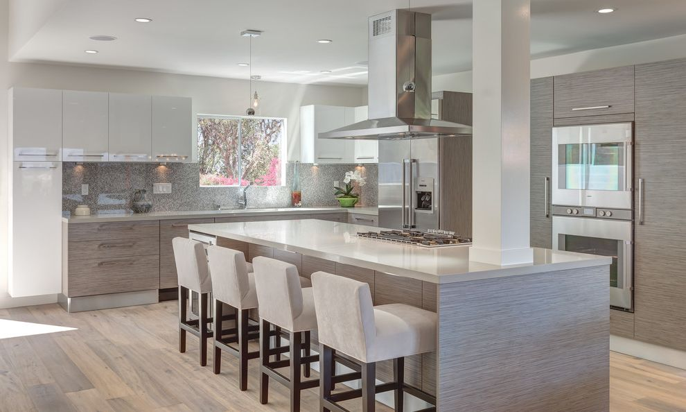 Ethan Allen Bar Stools   Contemporary Kitchen  and High Gloss Cabinets Kitchen Island Lights Large Island Pendant Lights Wall Ovens White Bar Stools White Countertop Wood Floors