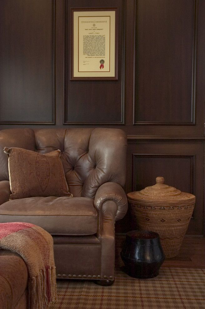 Ethan Allen Leather Recliner   Traditional Family Room Also Area Rug Den Diploma Leather Armchair Nailhead Trim Plaid Rug Tufted Armchair Wall Art Wall Decor Wood Paneling