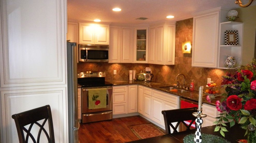 Everhart Construction   Traditional Kitchen Also 1970s Kitchen Remode Granite Counter Tops Painted Cabinets Tile Back Splash Under Counter Pantry Cabinet