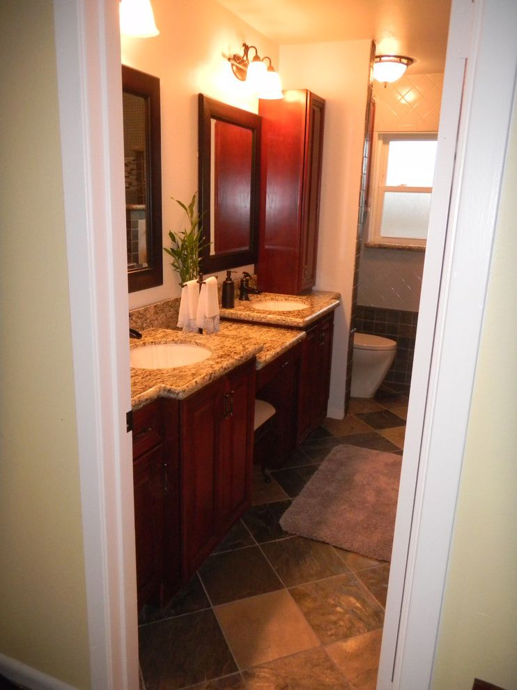 Everhart Construction   Transitional Bathroom Also 1950s Hall Bath Remodel All Tiled Walls Tub to Shower Conversion