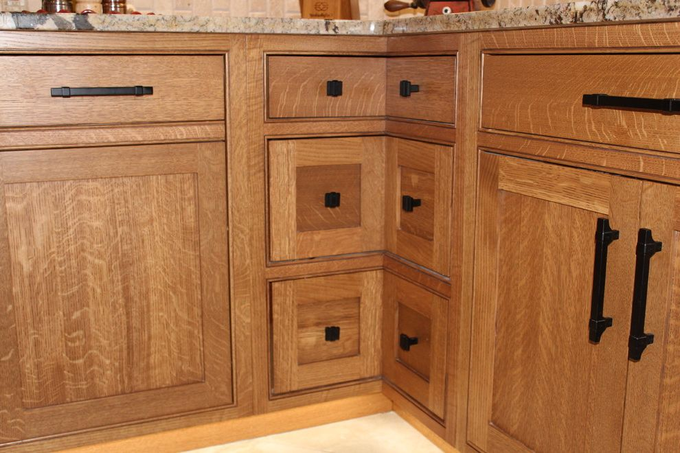 Exodus White Granite   Craftsman Kitchen  and Flat Panel Doors Quartersawn White Oak