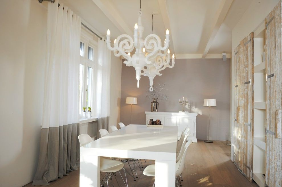 Expensive Chandeliers   Contemporary Dining Room Also Colorblock Drapes Curtains Drapery Drapes Grommet Grommet Panels High End Curtain Drape Neutral Curtains Roman Shades Shades Shutter Window Coverings Window Treatments