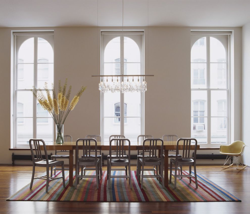 Expensive Chandeliers   Contemporary Dining Room  and Aluminum Arched Windows Area Rug Chair Chandelier Dining Table Eames Emeco French Windows Loft Modern Navy Rocker Rocking Chair Stripe Urban White Window Wood