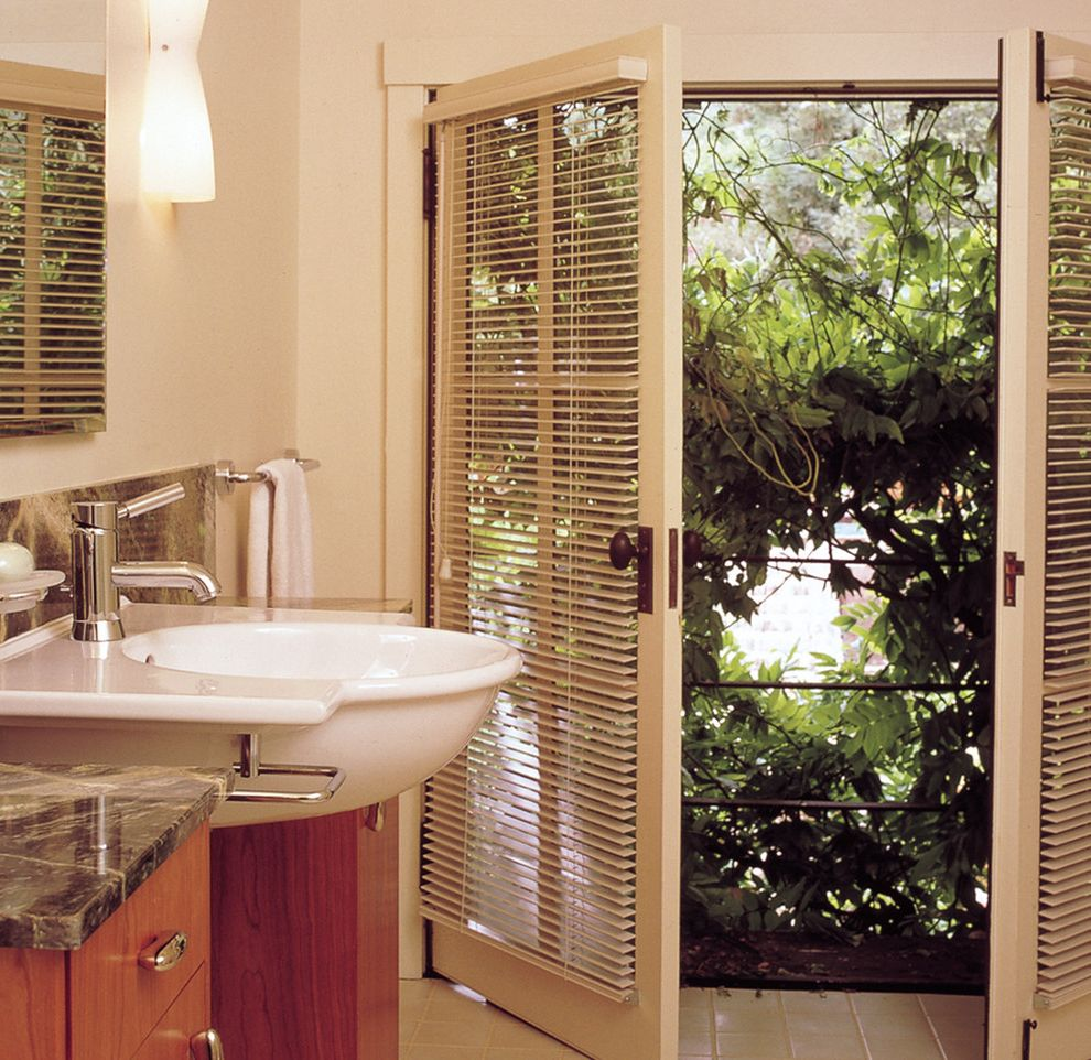 Exterior Door with Blinds Between Glass   Traditional Bathroom Also French Doors Glass Doors Marble Countertops Sconce Tile Flooring Vessel Sink Wall Lighting Window Blinds Window Treatments Wood Cabinets