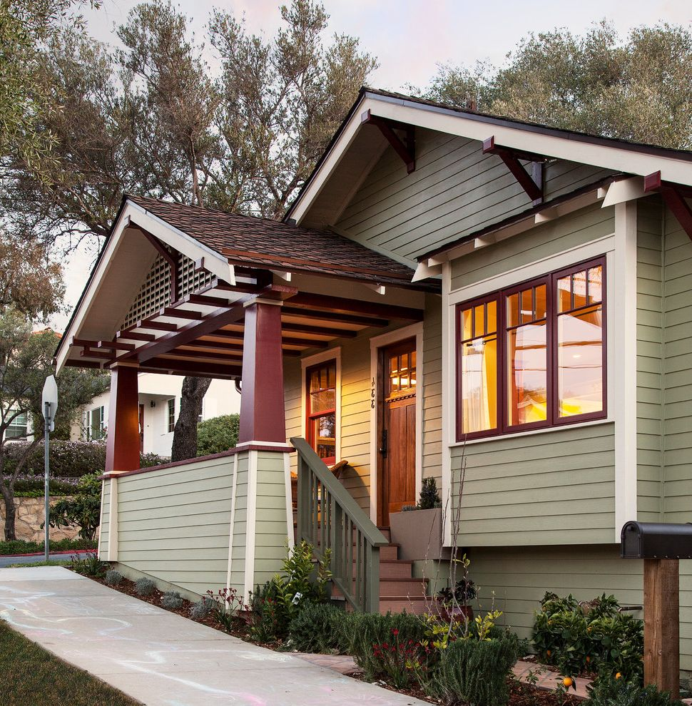 Exterior paint colors with brown roof for craftsman porch for Craftsman porch