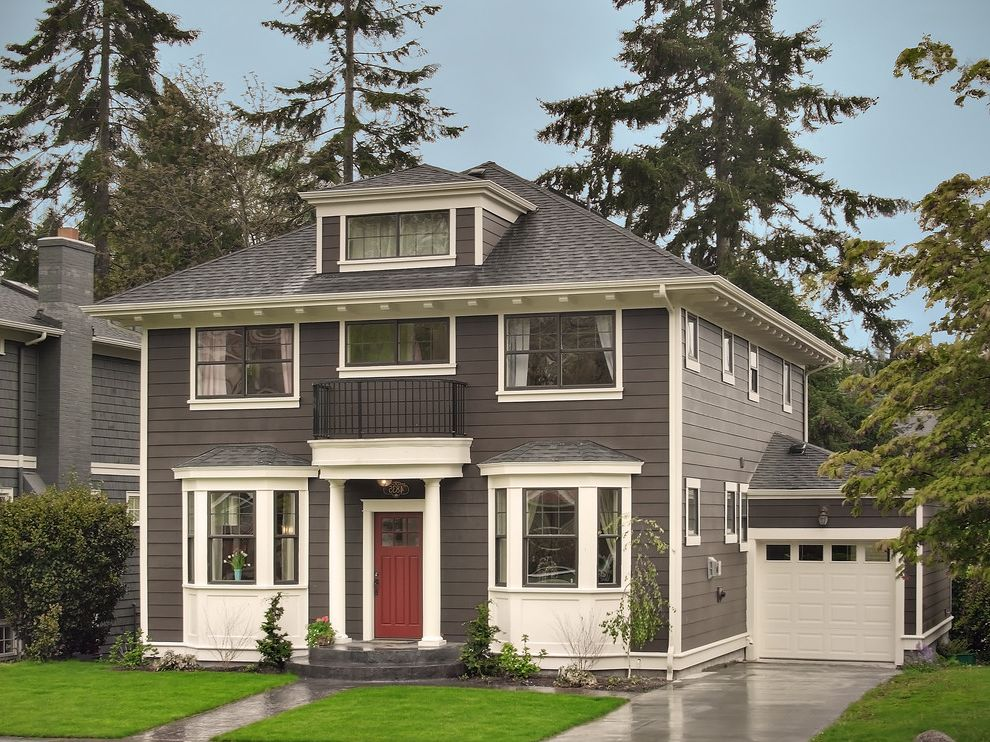 Exterior Paint Colors with Brown Roof with Traditional Exterior Also Attached Garage Balcony Bay Windows Black Windows Dormer Eaves Gray Lawn Overhang Red Front Door Shingle White Trim Columns