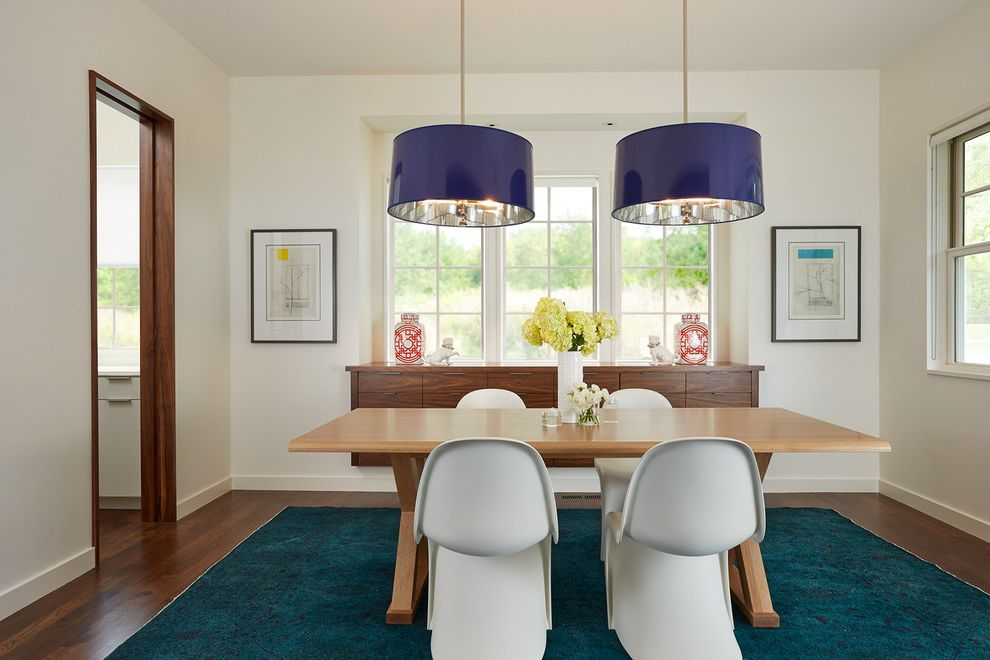 Extra Large Drum Lamp Shade   Contemporary Dining Room  and Blue Area Rug Blue Drum Pendant Light Dark Wood Trim Panton Chairs Wall Art White Dining Chairs