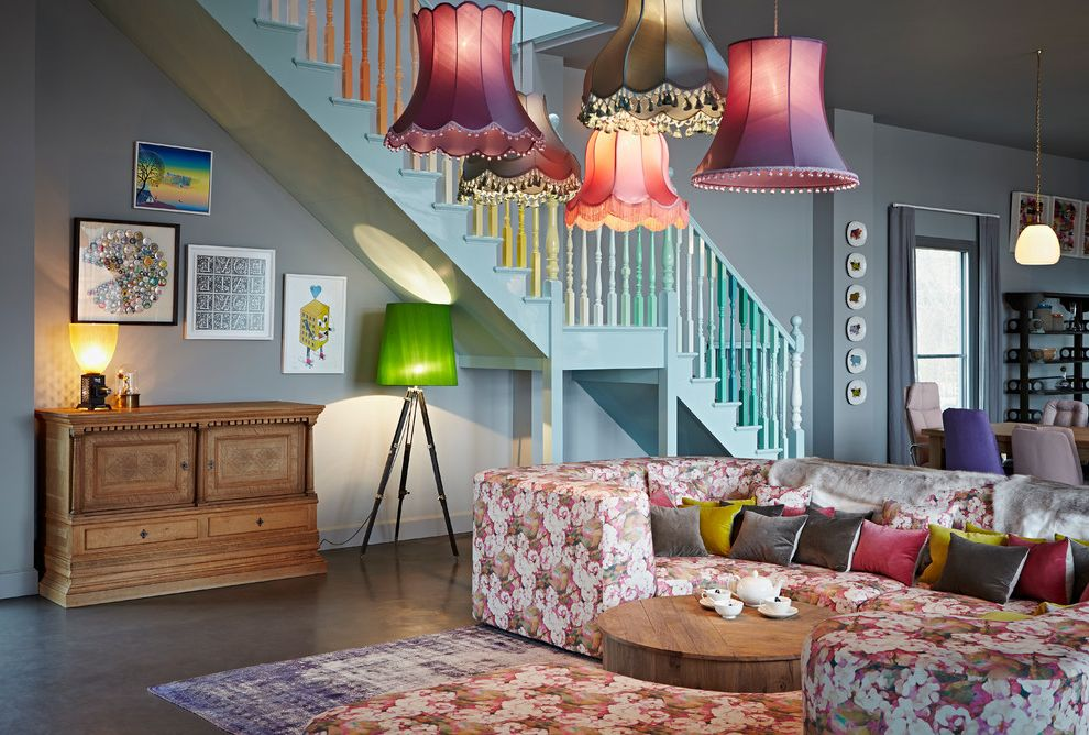 Extra Large Drum Lamp Shade with Eclectic Living Room Also Area Rug Colourful Dresser Floor Lamp Pendant Lighting Sofa Staircase Wall Art