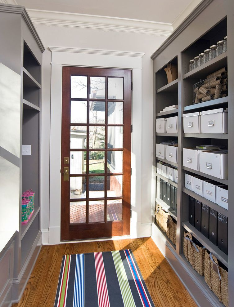 Extra Large Plastic Storage Containers with Lids   Traditional Entry Also Built in Storage Entry Door Rear Entry Rug Runner Shelves