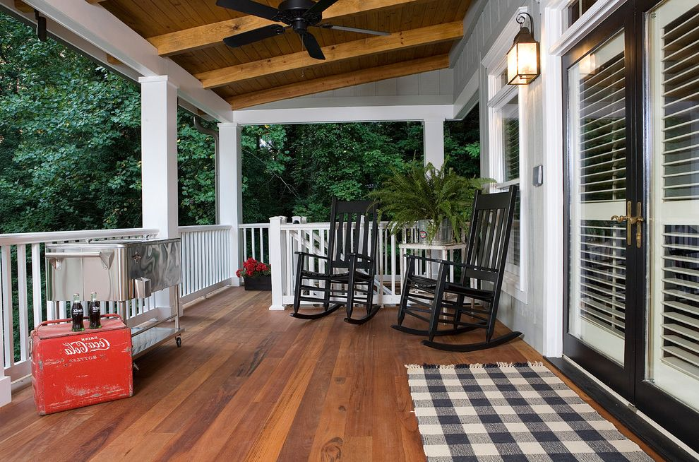 Extra Wide Rocking Chair with Traditional Porch Also Black and White Black Trim Ceiling Fan Coca Cola Fern Gingham Area Rug Lantern Outdoor Room Outdoor Spaces Porch Remodel Rocking Chairs Tongue and Groove White Railing Windowbox Wood Ceiling