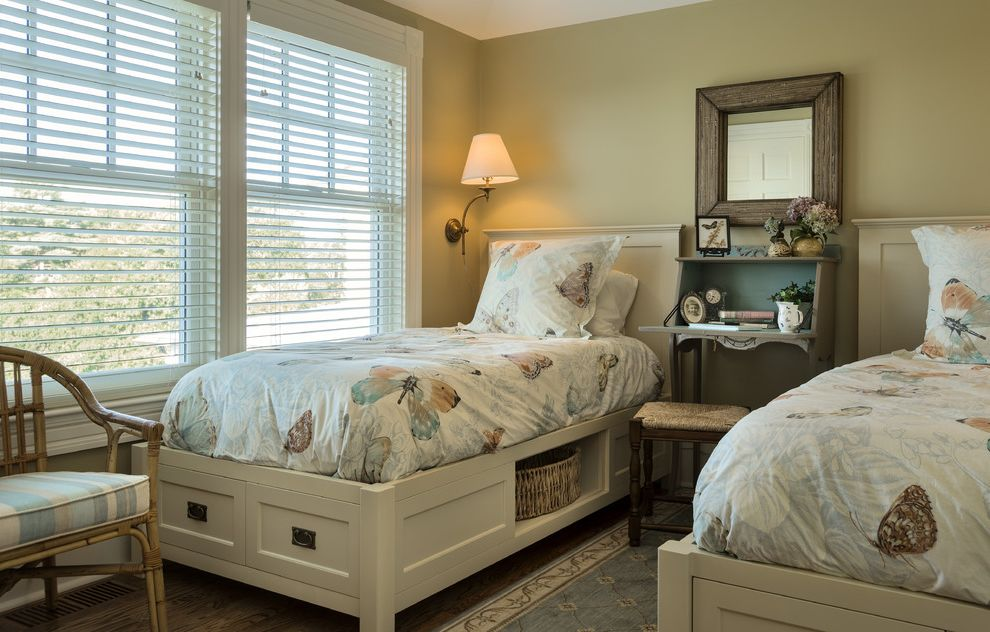 Ez Bed Twin   Traditional Bedroom  and Beige Walls Butterflies Charming Coastal Cottage Coastal Home Corner Blocks Drop Leaf Console Table Guest Room Maine New England Renovation Rustic Charm Twin Beds Under Bed Storage Venetian Blinds White Trim
